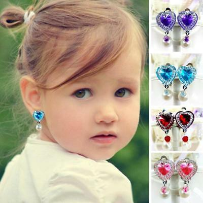 Clip on Earring No Piercing Crystal Children kids Costum Party Jewelry Gift