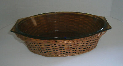 "Vintage Amber Glass Arcopal 11"" Casserole Dish Pan w/ Basket Carrier France"