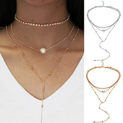 Womens Jewelry Multi Layers Chain With Pearl Pendant Necklace Crystal Choker~