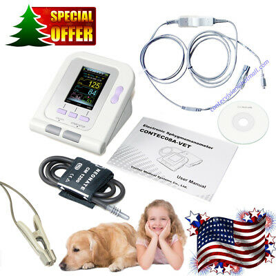 CONTEC08A Digital Veterinary Blood Pressure Monitor NIBP+SpO2 Probe+SW, Dog/Cat