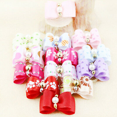 100PCS 3D Small Puppy Pet Dog Cat Rhinestone Hair Bow Rubber Bands Grooming Tie~