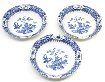 "J & G MEAKIN Blue PAGODA Lot of 3 Fruit Bowl 5 1/8"" Blue White England 1912"