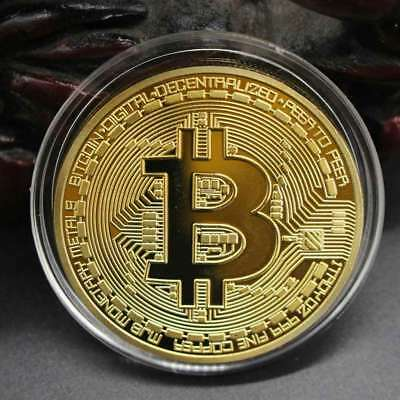 Gold Plated Gift Bitcoin Coin Collection Collectible Souvenir Art 3mm P4Z9Y