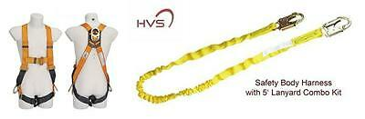 Fall protection harness with 5' safety lanyard combo fall safety kit - HVS-USA
