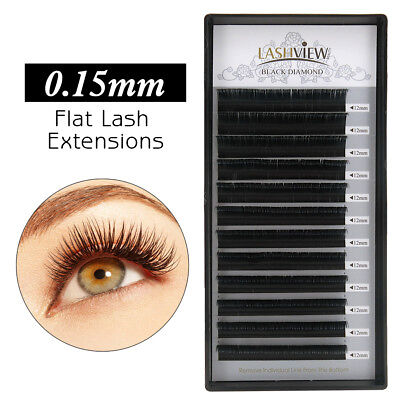 Lashview Ellipse Flat Eyelash Extensions .15 & .20mm Quick Application Lashes