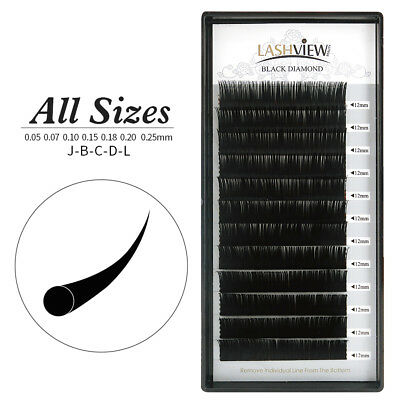 LashView All Sizes Silk Individual Eyelash Extensions for Pro Lash Artists