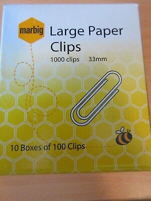 Marbig 33mm Large Paper Clips bulk deal 1000 clips free post with tracking
