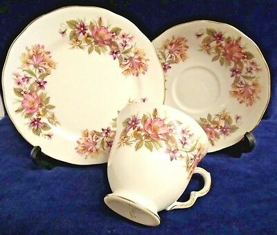 Vintage COLCLOUGH China TRIO. Cup Saucer & Plate. Flower Sprays Pattern No 8581.