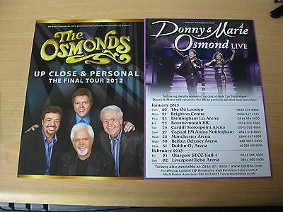 2 Concert Flyers Donny & Marie Osmond/the Osmonds Up Close & Personal Brand New