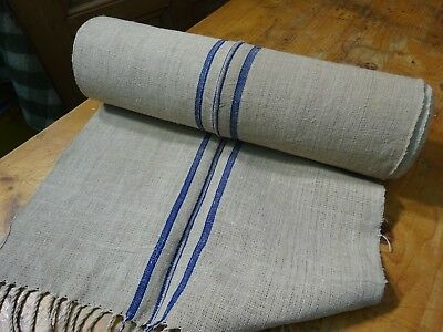 A Homespun Linen Hemp/Flax Yardage Blue Stripes 13 Yards x 20''   # 9591