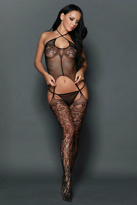Catsuit bodystocking donna nero sexyshop intimo lingerie completino TU 79927