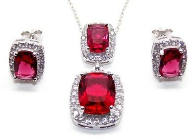 Sterling Silver Ruby And Diamond 11.75ct Necklace Set (925) Free Gift Box