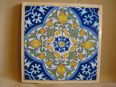 Four Dutch Delft  Framed Tiles