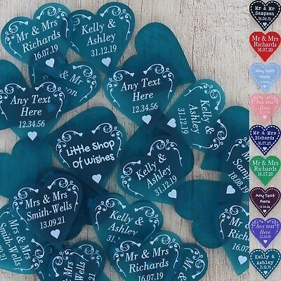 Personalised Wedding Favours Table Decorations Mr & Mrs Love Hearts 3cm Confetti