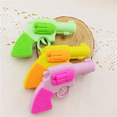 1x Novelty Funny Faux Gun Eraser Rubber Stationery Gift Cool Toy Boys Set Hot