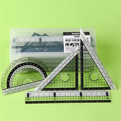 Math Rulers Set Drawing Geometry School Work Protractor Square Angle  New.