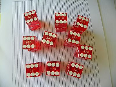 Casino Red Dice,beau Rivage Biloxi, Ms, Matching Numbers, Lot Of 10 Pair, Nice!