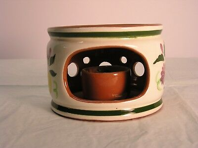 """Rare Stangl """"china Warmer Stand"""" Fruit And Flowers Pattern Handpainted"""