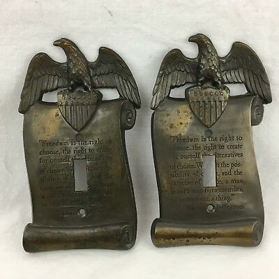 Thomas Jefferson Eagle Freedom Light Switch Cover Plate Vintage 1967 Lot of 2
