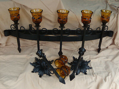 Primitive Rare antique wrought iron candle holder & 2 matching wall sconces