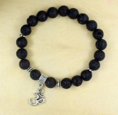Natural volcanic rocks buddhist prayer beads mala men bracelet yoga pendant