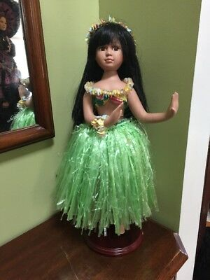 "hula girl dancer Hawaiian porcelain doll HAWAII 18""  DOLL ALOHA"