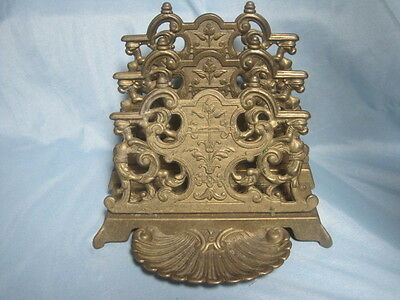 Antique Brass Ornate Letter Holder Scallop Stamp Tray very Downton Abbey Study