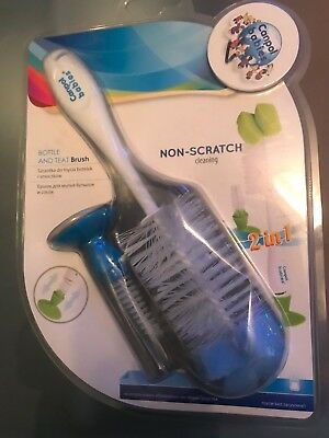 New Canpol Babies Bottle And Teat Brush Non-Skratch Cleaning Blue