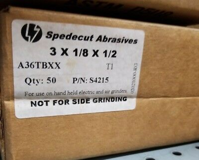 "100 PACK 3/""x.035/""x1//2/"" Spedecut Abrasives Cut-Off Wheel S4055 A60TBXX T1"