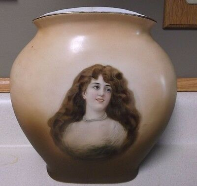 Warwick portrait vase IOGA ware brown haired lady pearls green feather dress