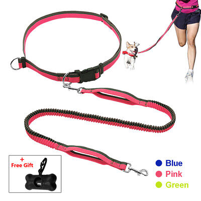 Hands Free Running Dog Leads Bungee Elastic Leash with Waist Belt & Free Gift