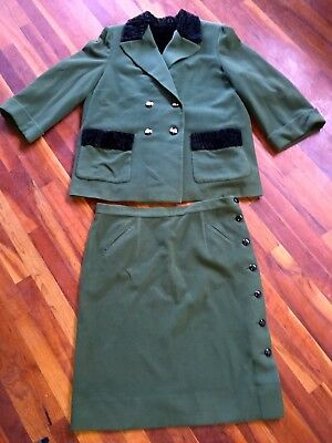 "VTG 1930s Deco Dark Forest Green Wool Black Lamb Celluloid ""Belt"" Buttons Suit"