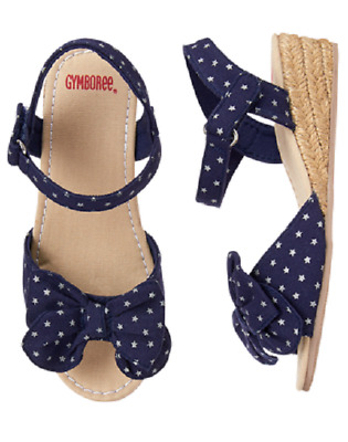 Gymboree Star Spangled Days Star Bow Espadrilles Shoes Kid Girl NWT Navy Silver