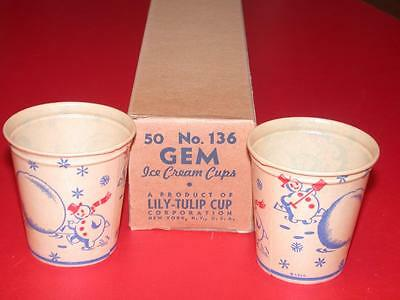 6 Vintage 1950's LILY TULIP 3 1/2oz Ice Cream CUPS SNOWMAN Old Store Stock dixie