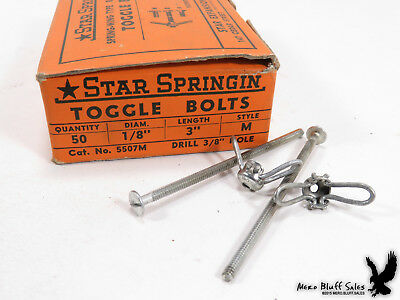 "NOS Spring-Wing Rust Proofed Toggle Bolts 1/8"" x 3"" Style M 36 Qty"