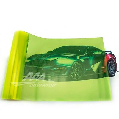 "12""x48"" Gloss Neon Yellow Smoke HeadLight Tailight Fog light Tint Film Sheet"