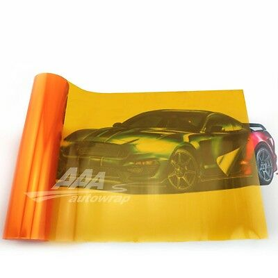 "12""x48"" Gloss Amber Orange Smoke HeadLight Tailight Fog light Tint Film Sheet"