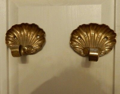 VINTAGE BRASS SHELL SHAPED TOWEL RAIL HOLDER ENDS Matt finish (a)