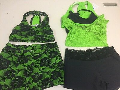 Heart Soul Dancewear Lime Lace Bra V-waist shorts  6 Piece (MEDIUM CHILD)