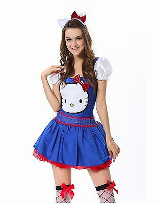 New Blue Sexy Women Adult Hello Kitty Costume Cosplay Halloween Fancy Dress SM
