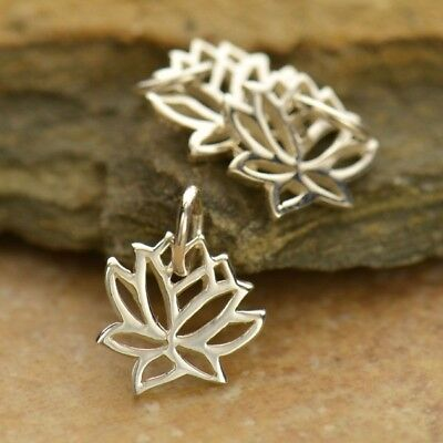 """925 Sterling Silver Lotus Necklace Tiny Flower Charm Yoga Jewelry 16"""" 18""""  868"""
