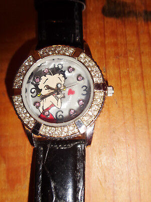 BETTY BOOP WATCH black alligator band STAINLESS STEEL BACK 2007 KFS second hand