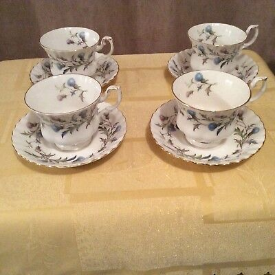 Royal Albert Brigadoon 4 Cups & Saucers