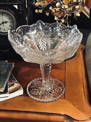 Antique Large Tall  EAPG  Footed Clear Glass Compote Bowl Flowers