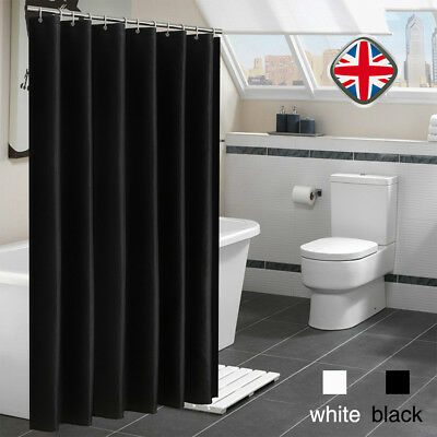 WHITE/BLACK SHOWER CURTAIN Extra Wide Extra Long Standard With/No ...