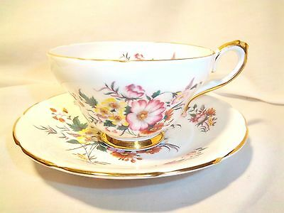 Sutherland Bone China Cup And Saucer Stafordshire England  Multicolored With Gol