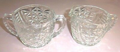 Antique/vintage Glass Sugar And Creamer In Star Pattern
