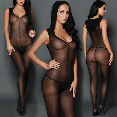 Black Crotchless Sleevless Hooded V Cut Bodystocking Opaque Lingerie Pantyhose