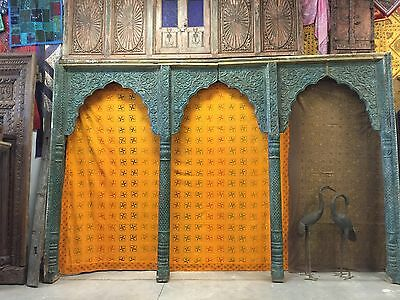 India Archway Carved Architectural Antique Carved 3 Arch Room Divider Jaipur