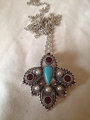 Sarah Coventry imperial Pendant Brooch Silver Tone Faux Pearl And Turquoise